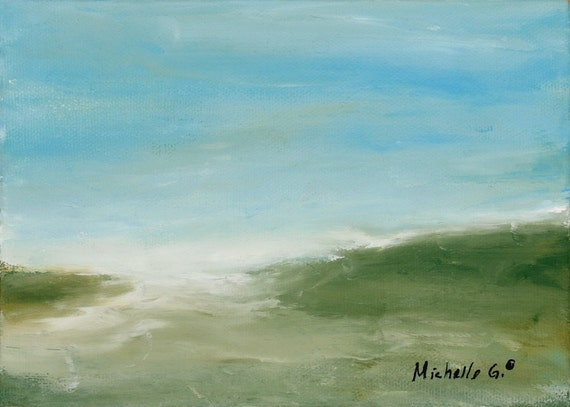 Original Contemporary Abstract Landscape, Nature Painting on Canvas, Home or Apartment Decor in Blue and Green  Titled 35