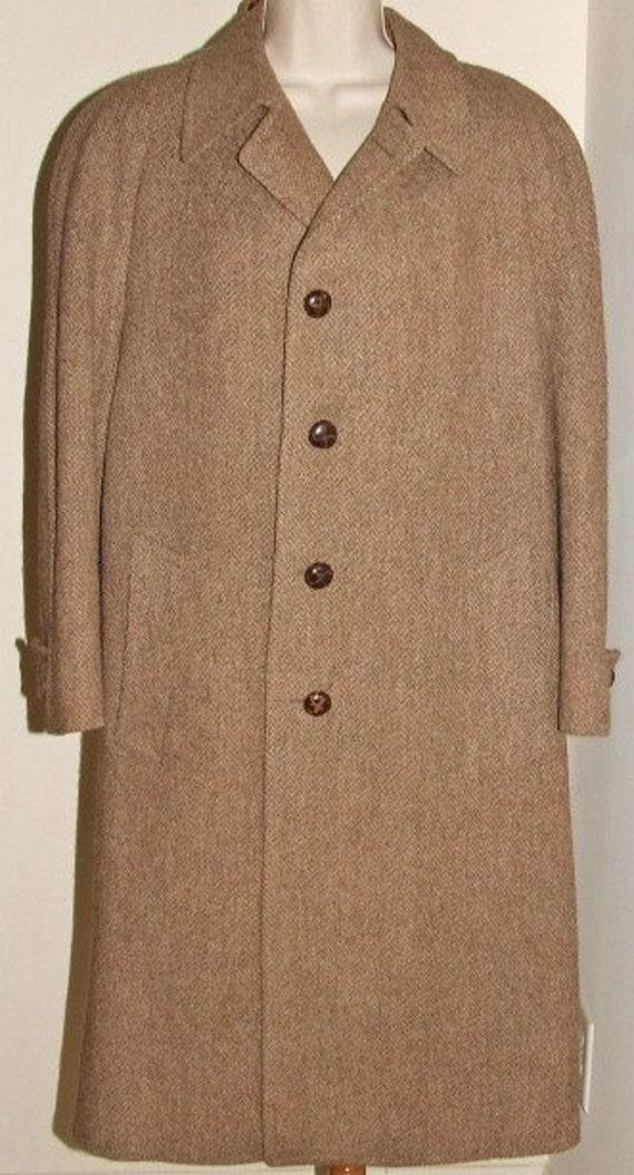 Scottish Handwoven Wool Harris Brown Tweed Men's Overcoat w/ Woven Buttons  SALE 50%