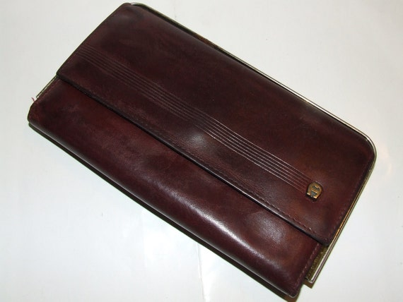 SALE 5.99 was 7.99  Oxblood Aigner Leather Checkbook Wallet