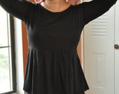 Plus Size ...Topsy Curvy Black 3/4 Sleeves Pleated Top ..... Available in ECO FRIENDLY Bamboo and Cotton Blend Fabric
