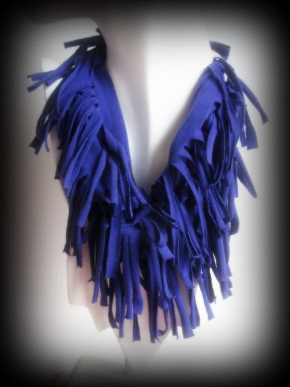 Topsy curvy Dark Purple Beautiful Fringed Infinity Upcycled Scarf