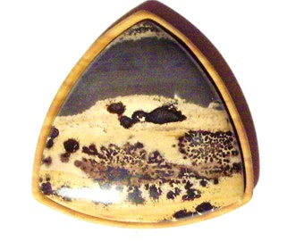 Desert Scene Framed Stone Intartia Pendant