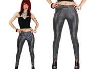 Spandex Silver Leggings Pants Metallic Lame' Checks Pattern Club Electro Punk Small S Medium M Large L Sale