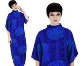 60s Caftan Kimono Dress Vintage Hawaiian Floral M