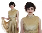 Reseved for Thea 60s Cocktail Dress Mod Metallic Gold Empire Waist 1960s Formal Party Dress Pleated Skirt Bow Prom Event  S M Small Medium