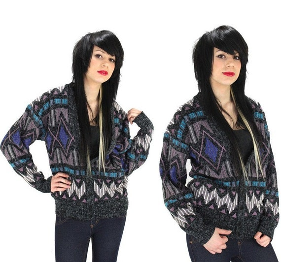 Cosby Sweater Vintage 80s 90s Cardigan Purple Gray Colors  Reserved for Hilda Solis'
