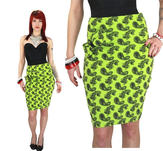 neon green paisley high waisted pencil skirt s neon threads