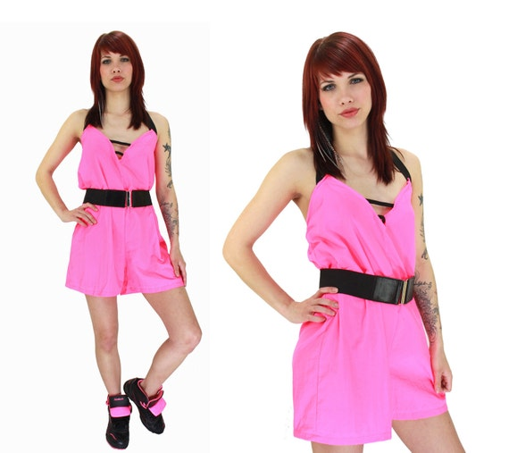 Neon Pink Romper 90s Inspired 1990s Revival 80s Retro Sexy Indie Punk Grunge Shorts Small S