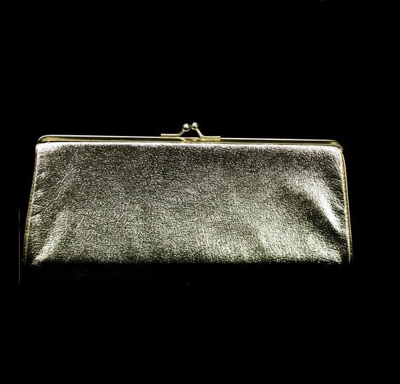 Vintage 60s Mod Purse Gold Clutch Bag 1960s Formal Mad Men