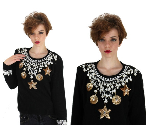 80s GEM Sweater Over Bedazzeled Pearls Sequins Beaded