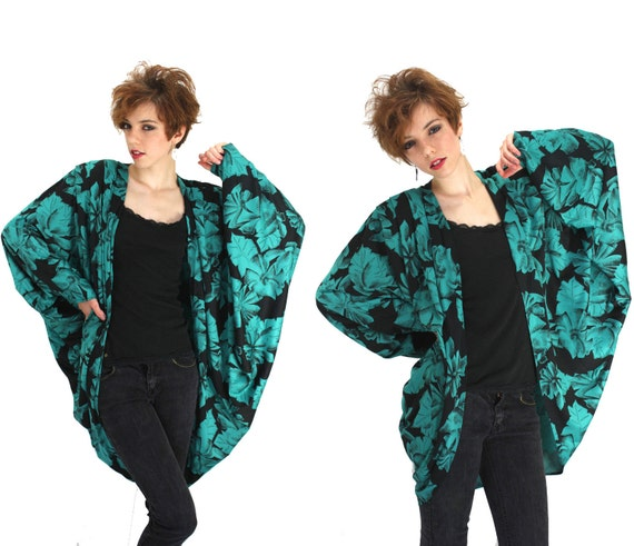 Vintage Cocoon Jacket Batwing Sleeves 80s 90s Draped Coat L XL
