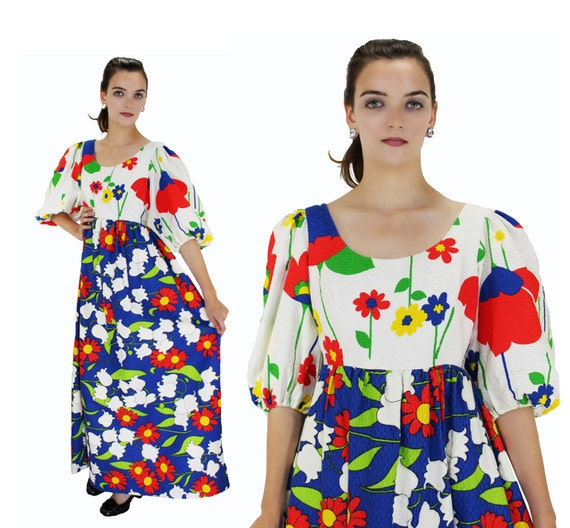 60s Psychedelic Dress Mod Abstract Flowers 1960s Floral Empire Waist Babydoll Maxi Puff Sleeves Lolita Hippie Boho Retro S M Small Medium