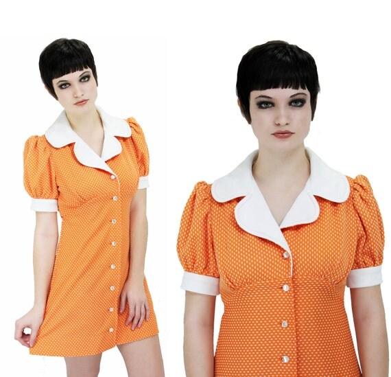 Vintage Dolly Dress Orange 60s 70s Mod Babydoll Empire Waist Puffy Sleeves Puff Lolita Mod Mini Polka Dots Small S