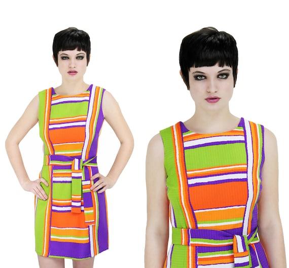 60s MOD Mexican Dress Bright Neon Rainbow Striped 70s Mini Sleeveless Boho Hippie Small Medium S M