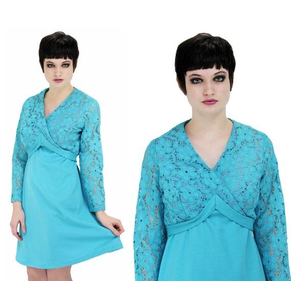 Reserved for alexismahoney Lace MOD Dress Vintage 60s 70s Empire Waist Blue Wrap Dress Dolly Babydoll M L Medium Large
