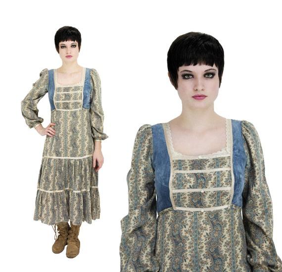 60s Gunne Sax Prairie Hippie Dress Vintage 70s Blue Velvet S