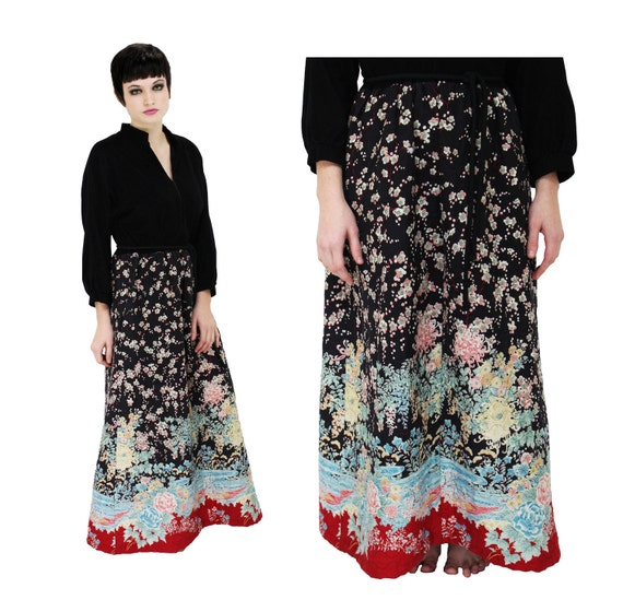 70s Maxi Dress Hippie Mod Vintage 60s 1970s With Quilted Floral Skirt Bohemian Medium M L Large