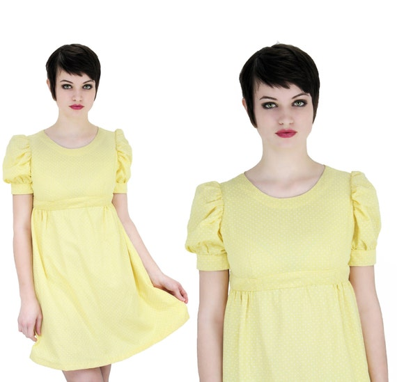 Vintage Dolly Dress Yellow 60s 70s Mod Babydoll Lolita Empire Waist Puffy Sleeves Puff Small S