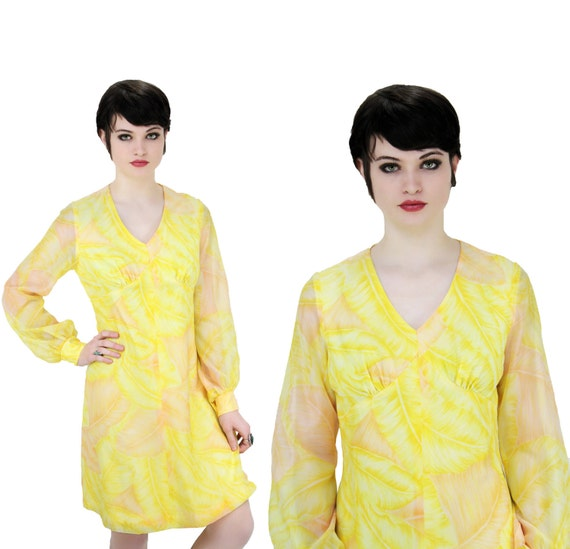 1960s Cocktail Dress 60s 70s Mod Formal Vintage Party Bright Yellow With Sheer Sleeves Empire Waist Mini L XL Large XLarge