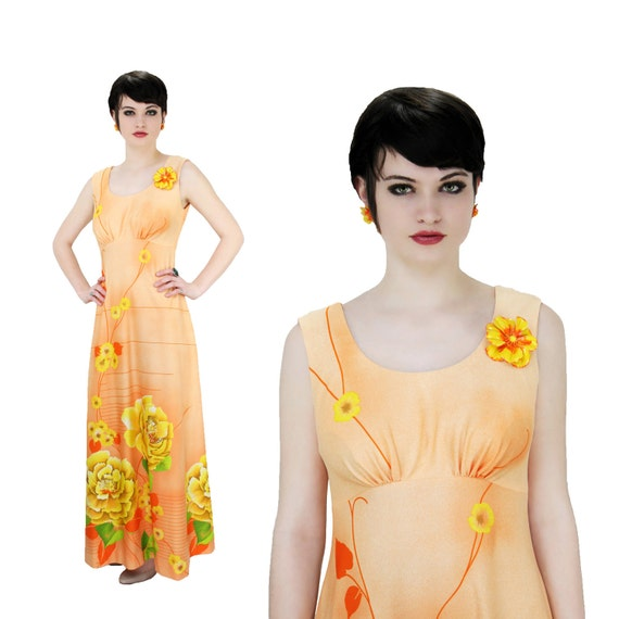 Hawaiian Maxi Dress 70s MOD 60s Bright Yellow Flowers Floral Empire Waist Orange Hawaii S M Small Medium