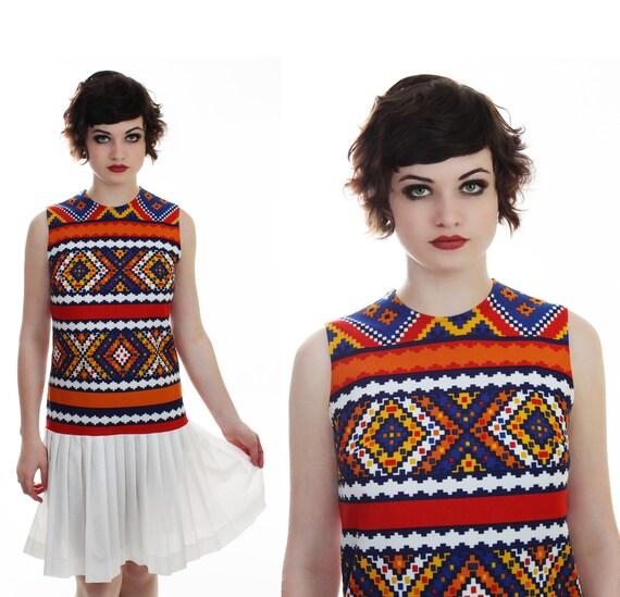 Mod Ethnic Dress 60s Aztec Abstract Tribal Southwestern Indian 1960s 1970s 70s Mod Mini Scooter Drop Waist S M Small Medium