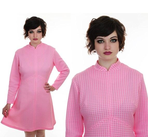 Mod Empire Waist Dress Pink Checks 60s 70s MOD Mini 1960s Retro Indie Day Dress Large L XL