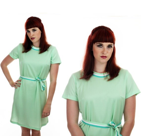 70s Mint Green Tennis Dress Vintage Disco 80s Sporty Striped Belt Sexy L Large XL