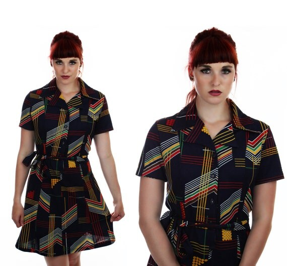 MOD Abstract Dress 60s Psychedelic Shapes Mod Mini 70s 1960s 1970s Large XL