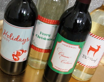 Printable Holiday Wine Label Set- Traditional