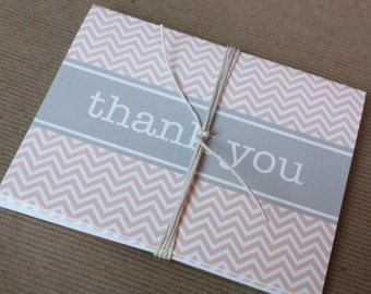 Printable Thank You Cards- Pink Chevron