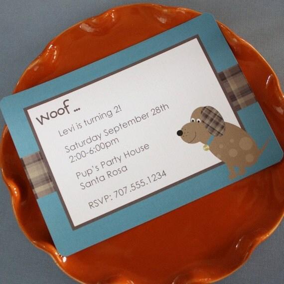 Printable Personalized Invitation-Plaid Doggy