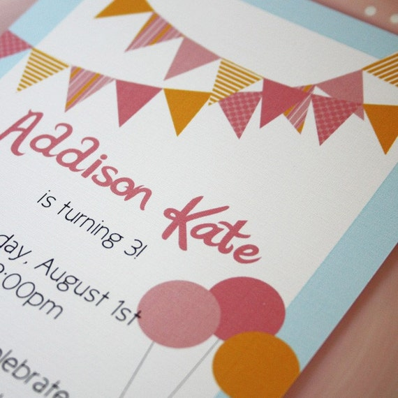 Printable Personalized Invitation- Pennant Party