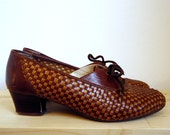 Woven Brown Leather Lace-Up Oxfords 41/8/11