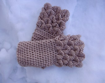 One of a kind Beige hand crochet fingerless gloves READY TO SHIP