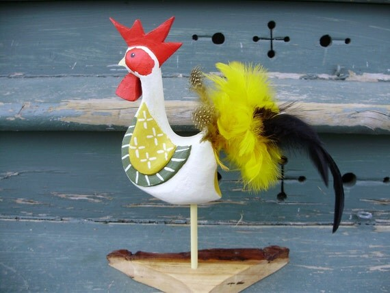 Lucky wood original art handmade country rooster yellow feathers handcarved wood chicken