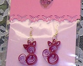 Hand Quilled Kitty Cat Earrings