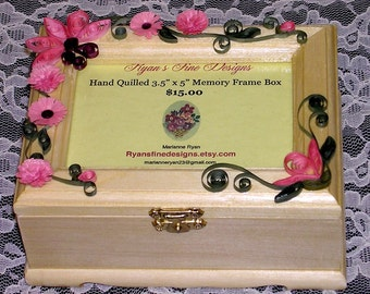 Hand Quilled 3.5 x 5 Memory Frame Keepsake Box