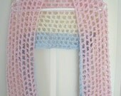 Pink, Cream and Blue Crocheted Shrug