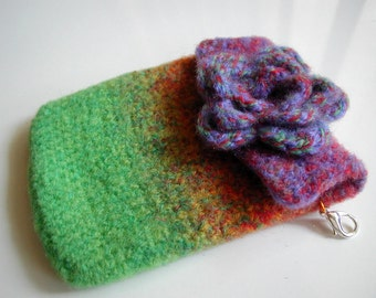 Rainbow Multicolor Felted Android Pouch