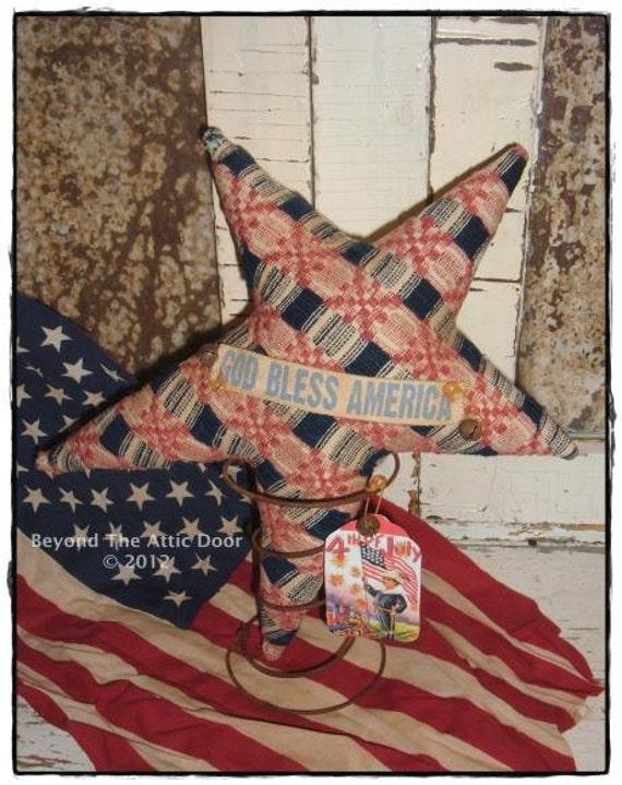 Americana STAR Vintage Coverlet Rusty Bedspring Patriotic