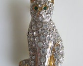 Vintage Pave Rhinestone Cat Pin Brooch