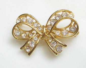 Beautiful Vintage Rhinestone Bow Pin Brooch