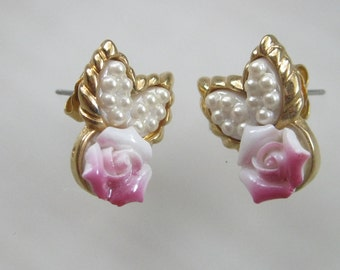 Vintage Earrings -  Roses with Faux Pearl Leaves