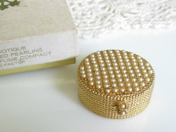 RESERVED Vintage Hypnotique Clustered Pearling Creme Perfume Compact by Max Factor with Box