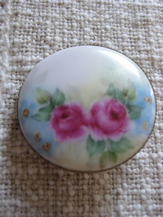 Vintage Handpainted ROSES Porcelain Pin Brooch