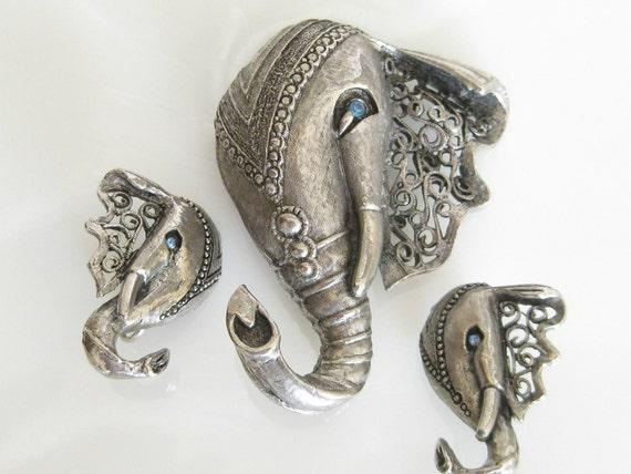 Vintage Unique Filigree Lucky ELEPHANT Demi Parure
