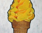 "Reserved for hhavery . Ice Cream Cone Original Painting . ""Ice Cream Cone (naughty)"" 36x24 in."