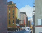 """NYC Chinatown Original Painting . """"Baxter Street, NYC"""" 12x12 in."""