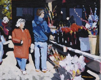 "Flower Market Original Painting . ""Flower Market"" 11x14 in."