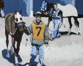 "Finger Lakes Racetrack Original Painting . ""In the Paddock"" 10x10 in."